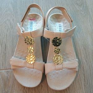 New Vionic sandal t strap hammered brass